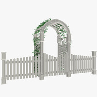 max white picket fence arbor