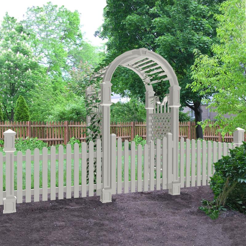 Fence Gate Arbor: Max White Picket Fence Arbor