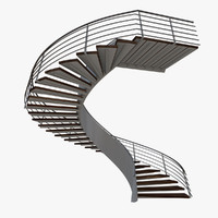 real floating helical staircase 3d c4d