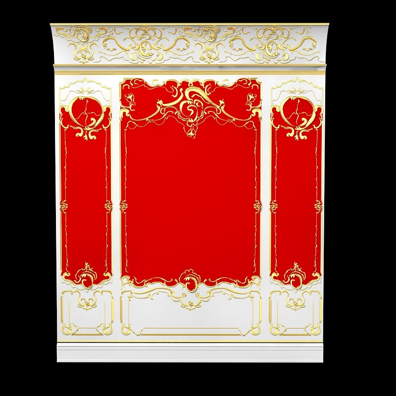 3ds max baroque wall boiserie