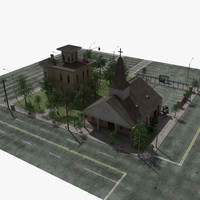 3d model church set lights