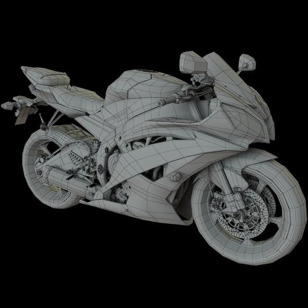 Yamaha R6 Motorcycle Engine 3ds