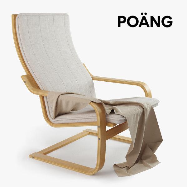 3d model ikea poang chair. Black Bedroom Furniture Sets. Home Design Ideas