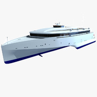 3d model 102 speed trimaran ferry