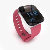 3d model sony smartwatch pink