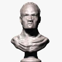 3d roman emperor bust