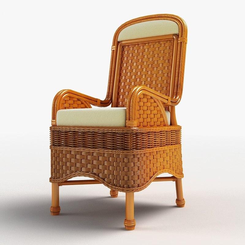 Wooden Wicker Furniture ~ Ds max wooden wicker rattan chair