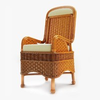Wooden Wicker Chair 01