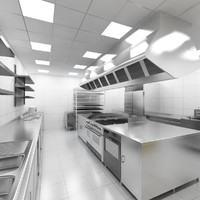 3d industrial kitchen model