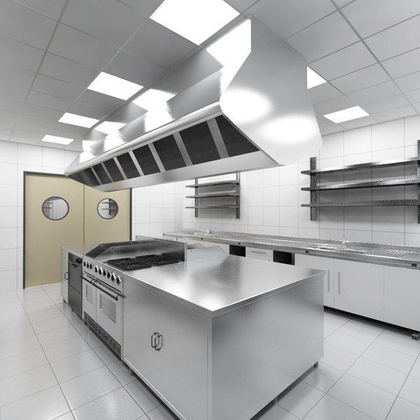 Kitchen Design 3d Model: 3d Industrial Kitchen Model