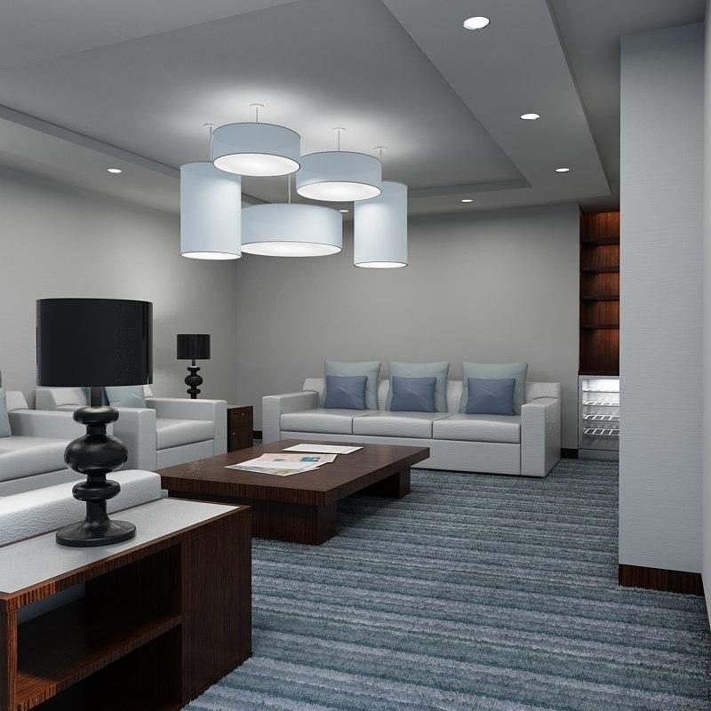 Office lounge interior 3d max for Max interior
