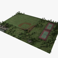 Park with Baseball Field and Tennis Courts