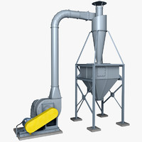 3d model industrial cyclone dust collector