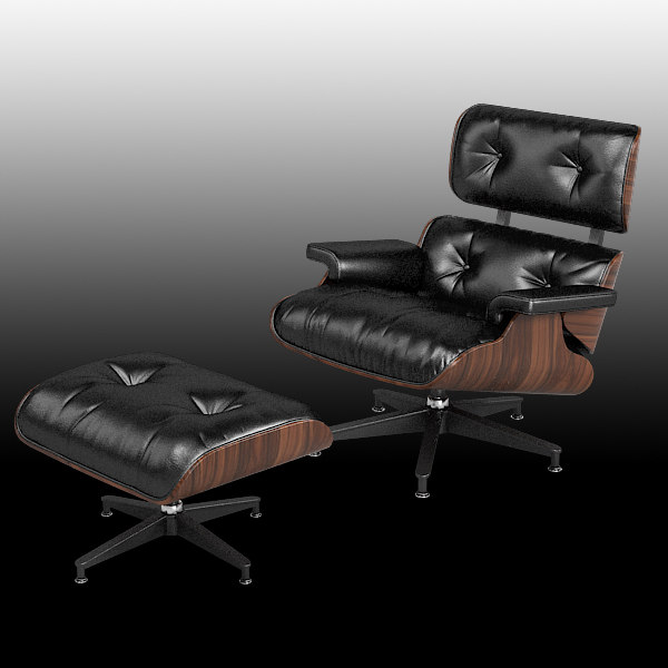 eames lounge chair 3d model - Eames Lounge chair 670 Herman Miller ottoman  standart... by shop3ds