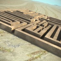 3d labyrinth desert scene model