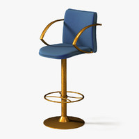 chair bar stool brass 3d model