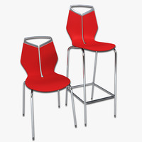 domino cafe chair bar stool 3d 3ds