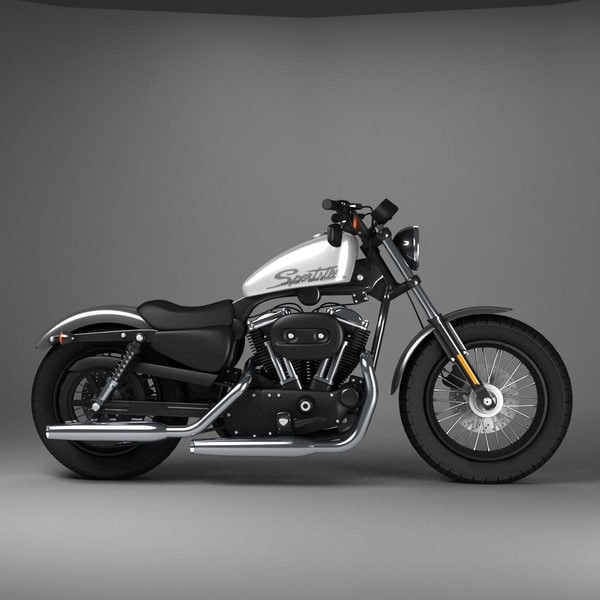 Harley Davidson With Turbo: 3d Model Harley Davidson Sportster Forty Eight