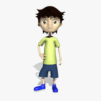 maya rigged comic boy character