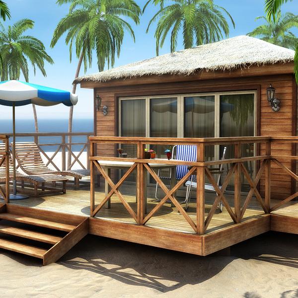 What Is A Bungalow Apartment: 3d Tropical Bungalow Model