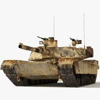 abrams low-poly tank 2 3d max