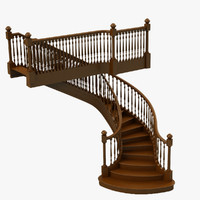 3d wooden staircase stair model