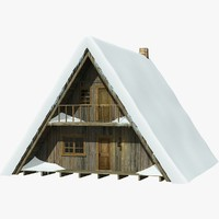a-frame chalet snow ice 3d model