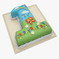3d model birthday year cake
