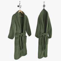 Green Bathrobe on Hanger and Hook
