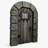 3d model medieval castle door arch