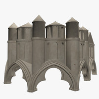 cathedral statues umbrella 3d 3ds
