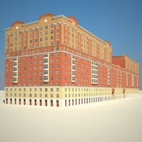long red brick building 3d model