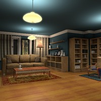 3d luxury living room night interior model