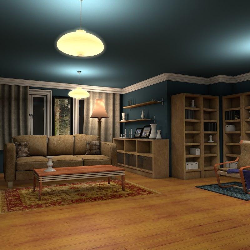 astounding 3d luxury living rooms | 3d luxury living room night interior model