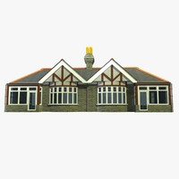 3d model semi detached british bungalow
