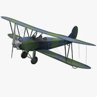 3d model realistic plane polikarpov po-2