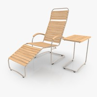 Cantilever Lounger Set Stainless Steel & Teak