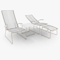 3d filigree lounger set furniture table model