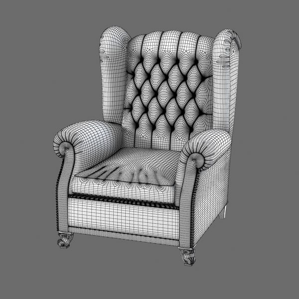 asnaghi old england 3d model - Asnaghi Old England Arrmchair... by archstyle