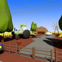 3d model cartoon farm