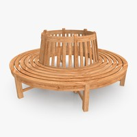 c4d garden tree bench teakwood