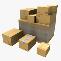 3d 3ds cardboard boxes stack