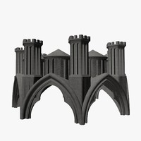 3d model of cathedral statues umbrella