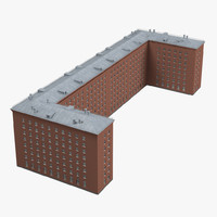brick u shape building 3d max