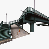 3d model city pedestrian bridge