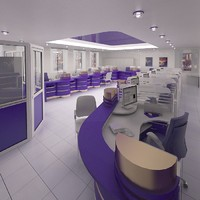 3d bank interior furniture