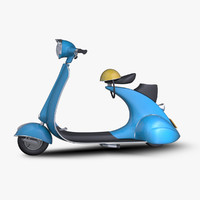 3ds max cartoon vintage scooter
