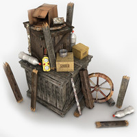 Junk 2 Wooden Crates Planks Props