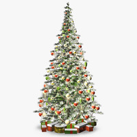 3d model snowy christmas tree