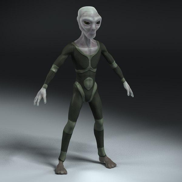 grey alien 3d max